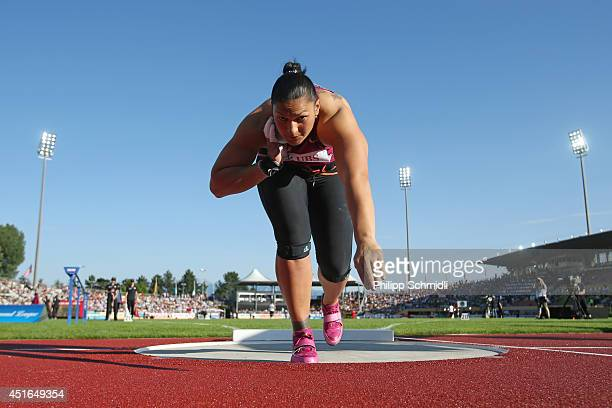 Valerie Adams of New Zealand competes in the Women's Shot Put competition at the IAAF Diamond League Athletics meeting 'Athletissima' on July 3 2014...