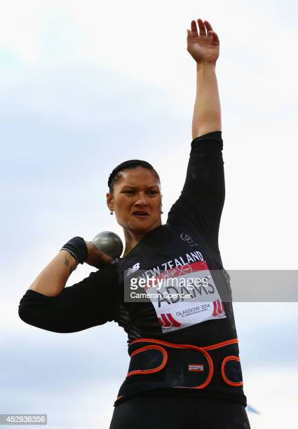 Valerie Adams of New Zealand competes in the Women's Shot Put Final at Hampden Park during day seven of the Glasgow 2014 Commonwealth Games on July...