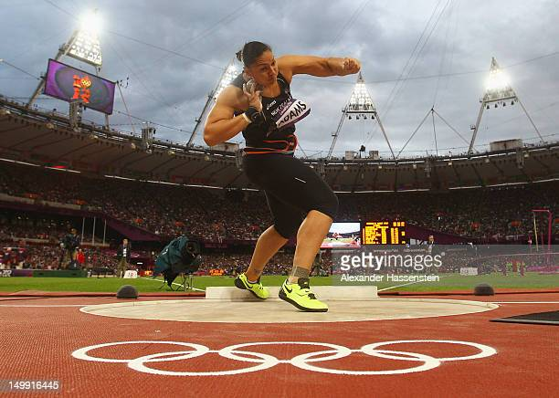 Valerie Adams of New Zealand competes in the Women's Shot Put final on Day 10 of the London 2012 Olympic Games at the Olympic Stadium on August 6...