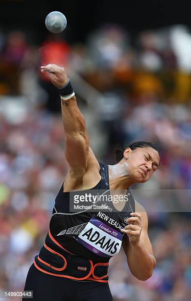 Valerie Adams of New Zealand competes in the Women's Shot Put qualification on Day 10 of the London 2012 Olympic Games at the Olympic Stadium on...