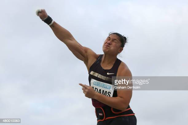 Valerie Adams of New Zealand competes in the Women's shot put open during the IAAF Melbourne World Challenge at Olympic Park on March 22 2014 in...