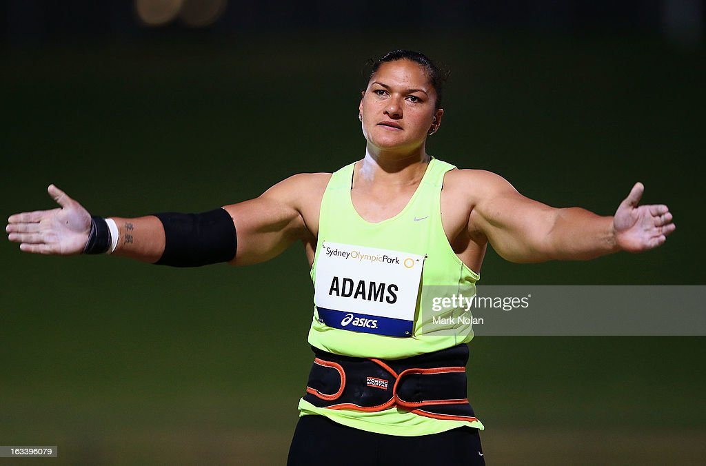 <a gi-track='captionPersonalityLinkClicked' href=/galleries/search?phrase=Valerie+Adams&family=editorial&specificpeople=2174723 ng-click='$event.stopPropagation()'>Valerie Adams</a> of New Zealand reacts as she competes in the Womens Shot Put during the Sydney Track Classic at Sydney Olympic Park Sports Centre on March 9, 2013 in Sydney, Australia.