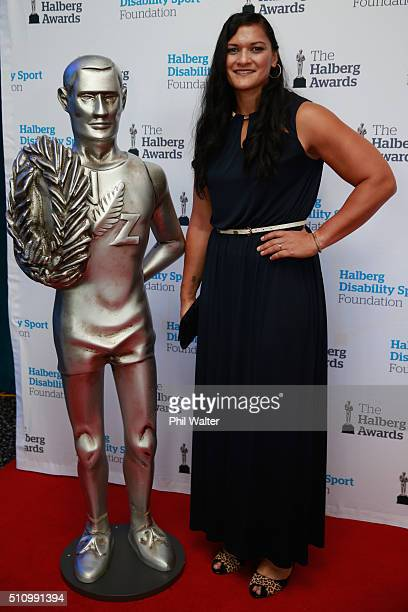 Valerie Adams poses on the red carpet before the 2016 Halberg Awards at Vector Arena on February 18 2016 in Auckland New Zealand