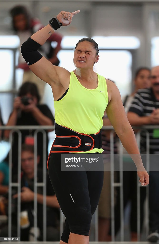 <a gi-track='captionPersonalityLinkClicked' href=/galleries/search?phrase=Valerie+Adams&family=editorial&specificpeople=2174723 ng-click='$event.stopPropagation()'>Valerie Adams</a> shows disappointment as she competes in The Shot In The City at The Cloud on Queen's Wharf on March 2, 2013 in Auckland, New Zealand.