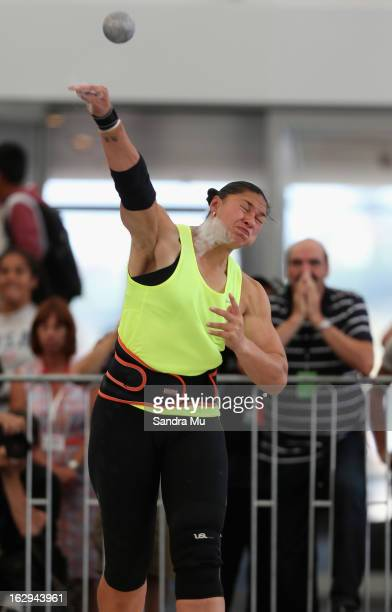 Valerie Adams throws an Oceania record as coach JeanPierre Egger looks on during The Shot In The City at The Cloud on Queen's Wharf on March 2 2013...