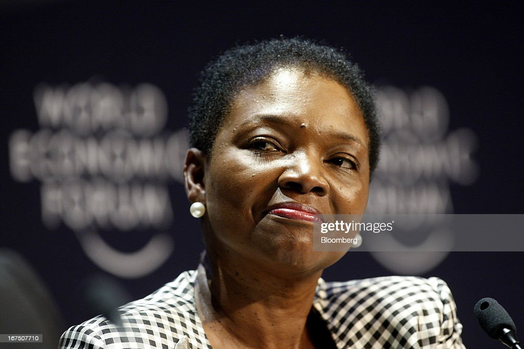 Valerie Amos undersecretarygeneral of humanitarian affairs for United Nations listens during a panel discussion at the 2013 World Economic Forum on...