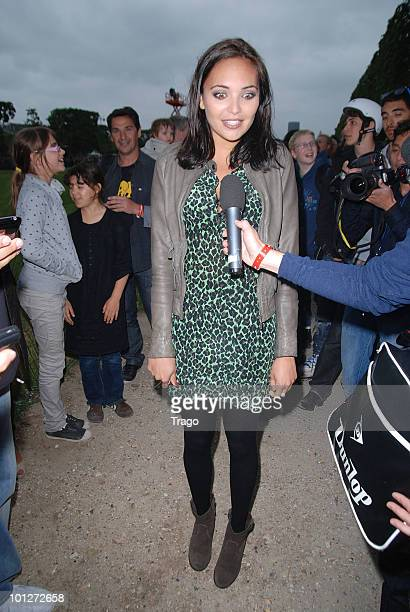 Valerie Begue attends the Taig Khris' Roller Jump world record at the Eiffel Tower on May 29 2010 in Paris France