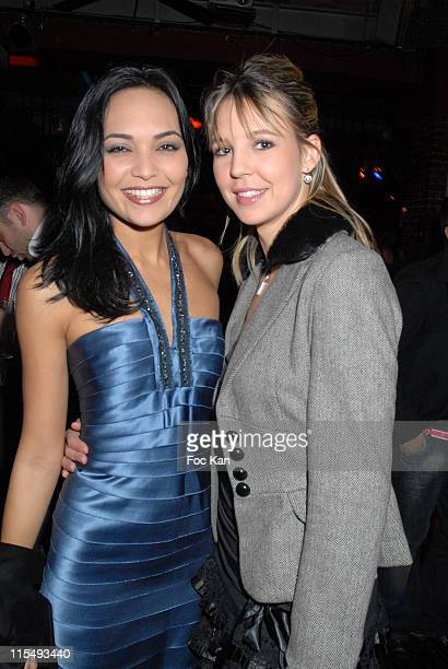Valerie Begue Miss France 2008 and Deborah Lopez Miss Champagne Ardennes attend the NRJ Mobile Party at the Salons du Louvre on February 06 2008 in...