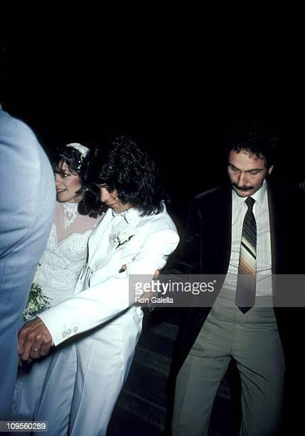 Valerie Bertinelli and Eddie Van Halen during Wedding of Eddie Van Halen and Valerie Bertinelli at St Paul's Catholic Church in Westwood California...