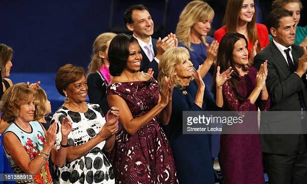 Valerie Biden Owens Marian Robinson First lady Michelle Obama Second lady Dr Jill Biden Ashley Biden and Hunter Biden applaud during the final day of...