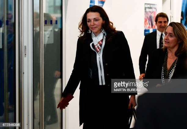 Valerie Boyer spokesperson of former French presidential election candidate for the rightwing Les Republicains party Francois Fillon arrives at the...