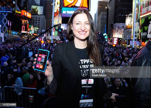 Valerie Buckingham Marketing director Nokia North America attends as Times Square was brought to a standstill on April 6 2012 as Nicki Minaj teamed...