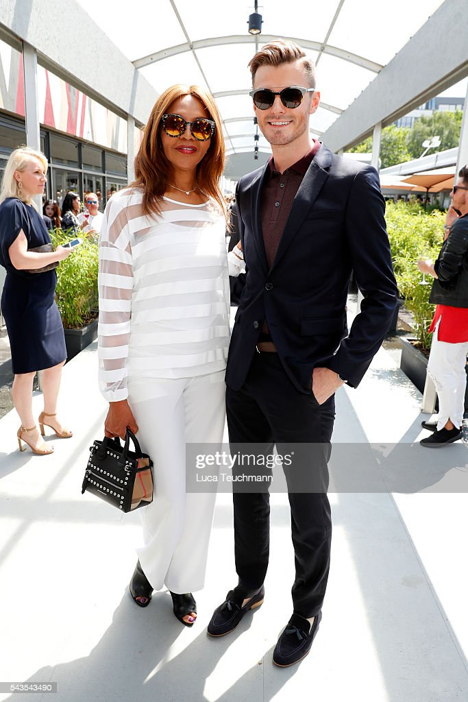 Valerie Campbell and <a gi-track='captionPersonalityLinkClicked' href=/galleries/search?phrase=Paul-Henry+Duval&family=editorial&specificpeople=10951570 ng-click='$event.stopPropagation()'>Paul-Henry Duval</a> attend the Minx by Eva Lutz show during the Mercedes-Benz Fashion Week Berlin Spring/Summer 2017 at Erika Hess Eisstadion on June 29, 2016 in Berlin, Germany.