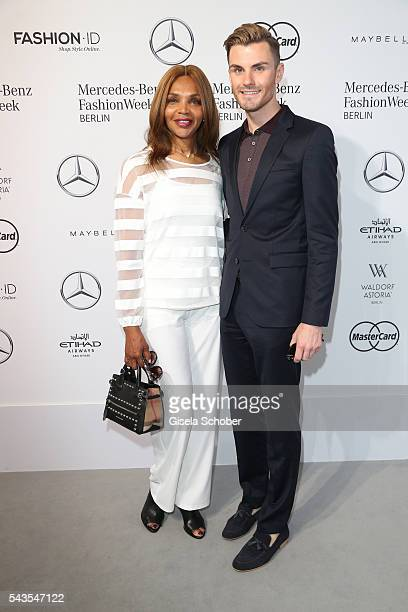Valerie Campbell and PaulHenry Duval attend the Minx by Eva Lutz show during the MercedesBenz Fashion Week Berlin Spring/Summer 2017 at Erika Hess...
