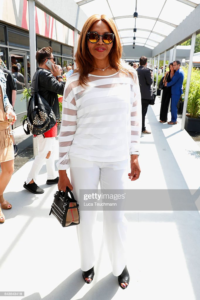 Valerie Campbell attends the Minx by Eva Lutz show during the Mercedes-Benz Fashion Week Berlin Spring/Summer 2017 at Erika Hess Eisstadion on June 29, 2016 in Berlin, Germany.