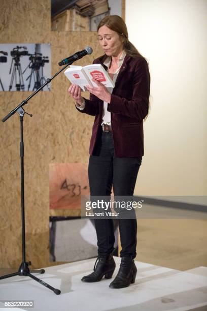 Valerie Dreville reads 'Tombeau pour Cinq Cent Mille Soldats' for 50th anniversary of the book at Azzedine Alaia Gallery on October 19 2017 in Paris...