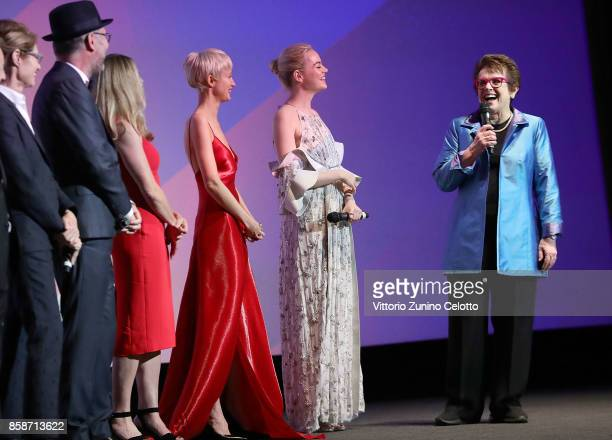 Valerie Faris Jonathan Dayton Elisabeth Shue Andrea Riseborough Emma Stone and Billie Jean King on stage at the American Express Gala European...