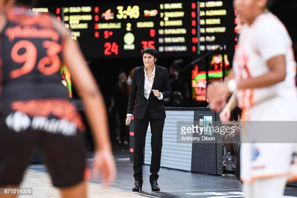 Valerie Garnier coach of Bourges during the women's Final of the French Cup between Charleville Mezieres and Bourges Basket at AccorHotels Arena on...
