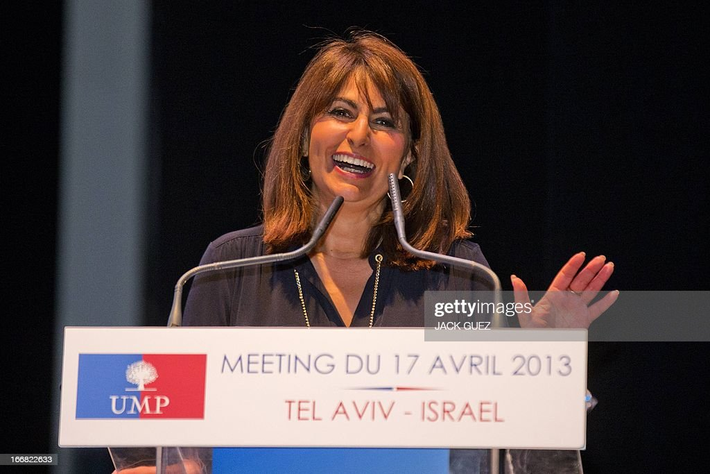 Valerie Hoffenberg from French right-wing opposition party, Union for a Popular Movement (UMP) candidate for the 8th district addresses Israelis holding the French nationality during a campaign meeting in the Mediterranean coastal city of Tel Aviv, on April 17, 2013.