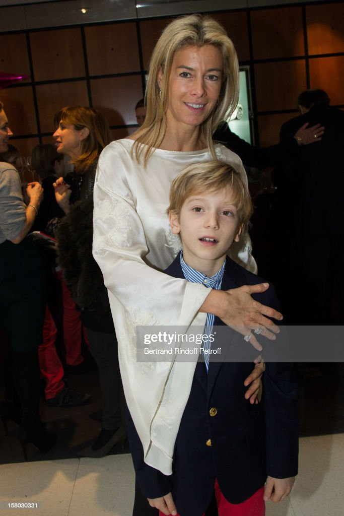 Valerie Hortefeux and her son Maxence Hortefeux pose during the Don Quichotte Ballet Hosted By 'Reve d'Enfants' Association and AROP at Opera Bastille on December 9, 2012 in Paris, France.