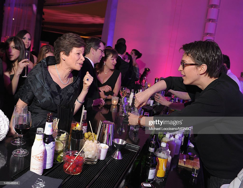 Valerie Jarrett and Rachel Maddow attend MSNBC After Party event for the White House Correspondents Association Dinner at Italian Embassy on April 28...