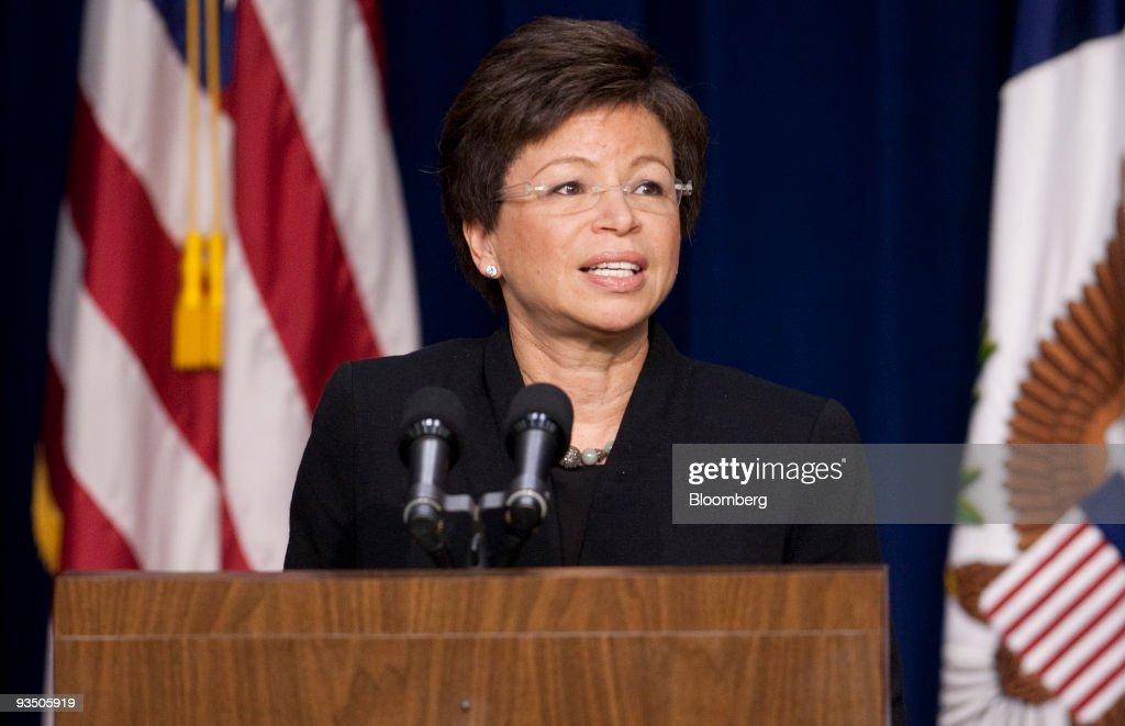 Valerie Jarrett senior adviser to US President Barack Obama speaks during a news conference highlighting the efforts of the Obama Administration on...