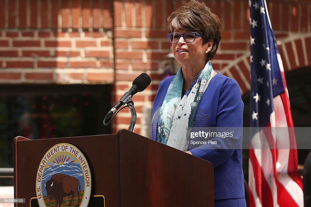 <a gi-track='captionPersonalityLinkClicked' href=/galleries/search?phrase=Valerie+Jarrett&family=editorial&specificpeople=5003206 ng-click='$event.stopPropagation()'>Valerie Jarrett</a>, Senior Advisor to President Barack Obama, speaks at a dedication ceremony officially designating the Stonewall Inn as a national monument to gay rights on June 27, 2016 in New York City. Elected and federal officials joined members of the LGBT community at the dedication ceremony of the historic bar that has played a pivotal role in the battle for the rights of people in the gay community. <a gi-track='captionPersonalityLinkClicked' href=/galleries/search?phrase=Valerie+Jarrett&family=editorial&specificpeople=5003206 ng-click='$event.stopPropagation()'>Valerie Jarrett</a>, Senior Advisor to President Barack Obama, Director of the National Park Service Jonathan Jarvis, Mayor Bill de Blasio and others were all on hand for the afternoon ceremony.