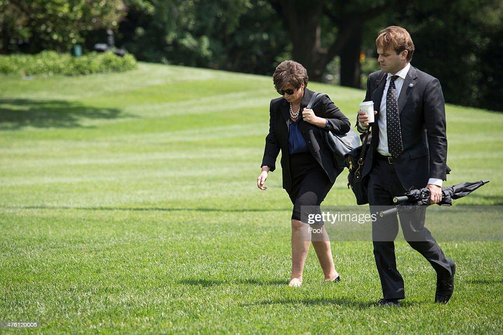 Valerie Jarrett Senior Advisor to the President exits Marine One and walks toward the residence of the White House on June 6 in Washington DC...