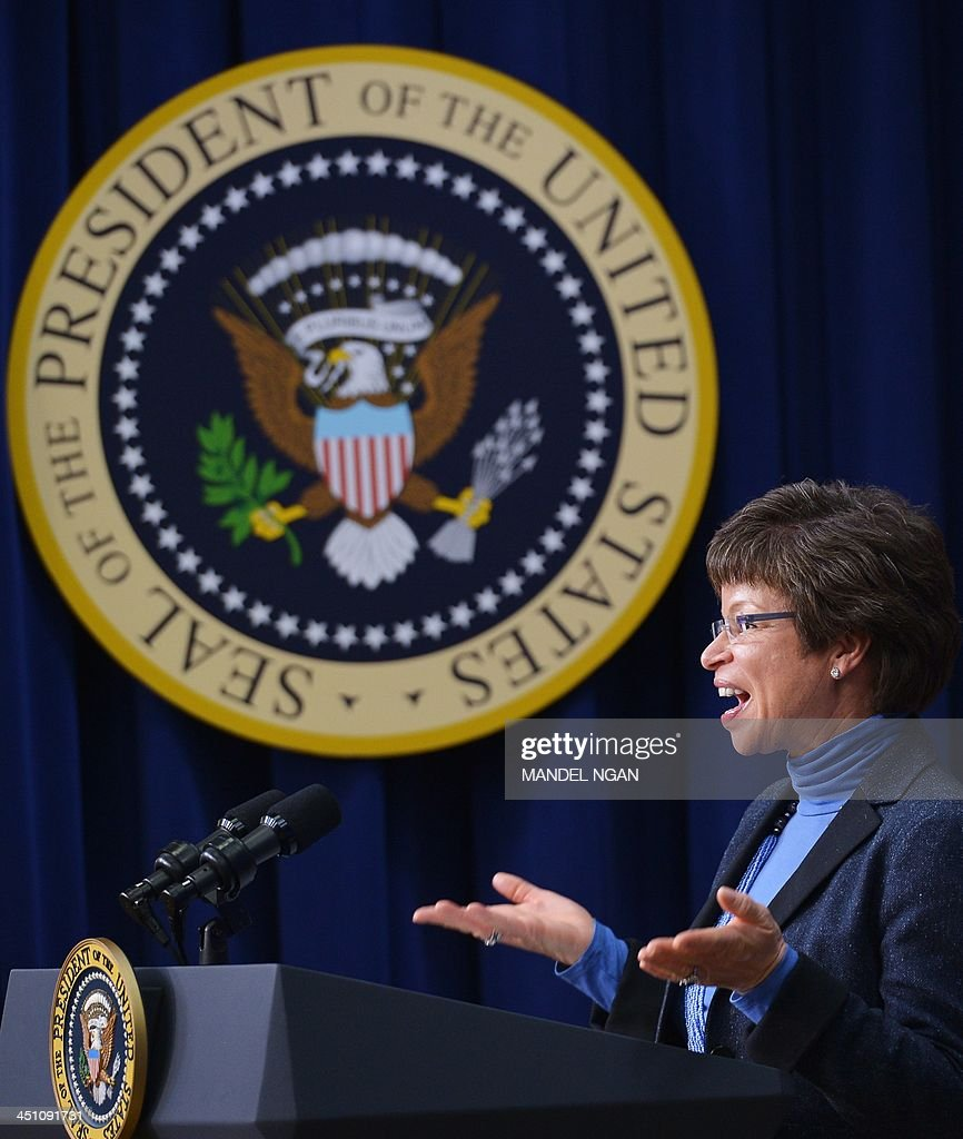 Valerie Jarrett, senior advisor to the president, speaks during the ConnectED Initiative technology in education event in the Eisenhower Executive Office Building, next to the White House, on November 21, 2013 in Washington, DC. AFP PHOTO/Mandel NGAN