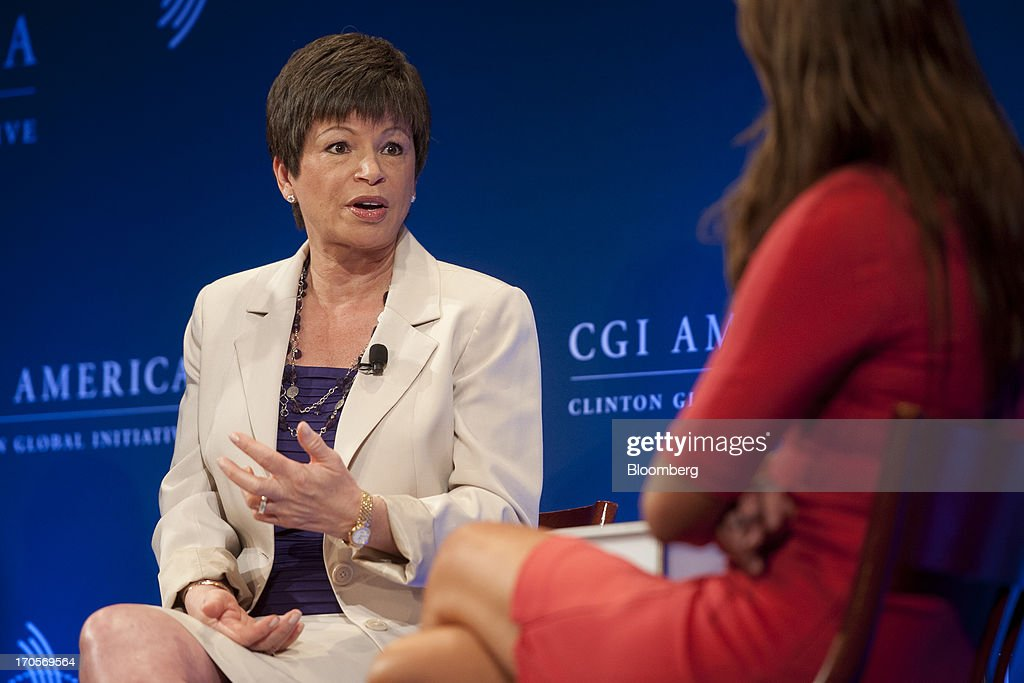 <a gi-track='captionPersonalityLinkClicked' href=/galleries/search?phrase=Valerie+Jarrett&family=editorial&specificpeople=5003206 ng-click='$event.stopPropagation()'>Valerie Jarrett</a>, senior advisor to U.S. President Barack Obama, speaks during the Clinton Global Initiative CGI America meeting in Chicago, Illinois, U.S., on Friday, June 14, 2013. New Jersey governor Chris Christie and Democrat Hillary Clinton, both potential presidential candidates will be able to use the forum to test policy messages in front of an audience of U.S. mayors and other civic and business leaders. Photographer: Daniel Acker/Bloomberg via Getty Images