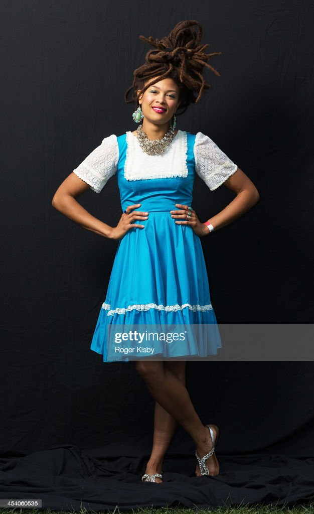 <a gi-track='captionPersonalityLinkClicked' href=/galleries/search?phrase=Valerie+June&family=editorial&specificpeople=5801252 ng-click='$event.stopPropagation()'>Valerie June</a> poses for a portrait backstage during day 1 of the AFROPUNK festival at Commodore Barry Park on August 23, 2014 in Brooklyn, New York.