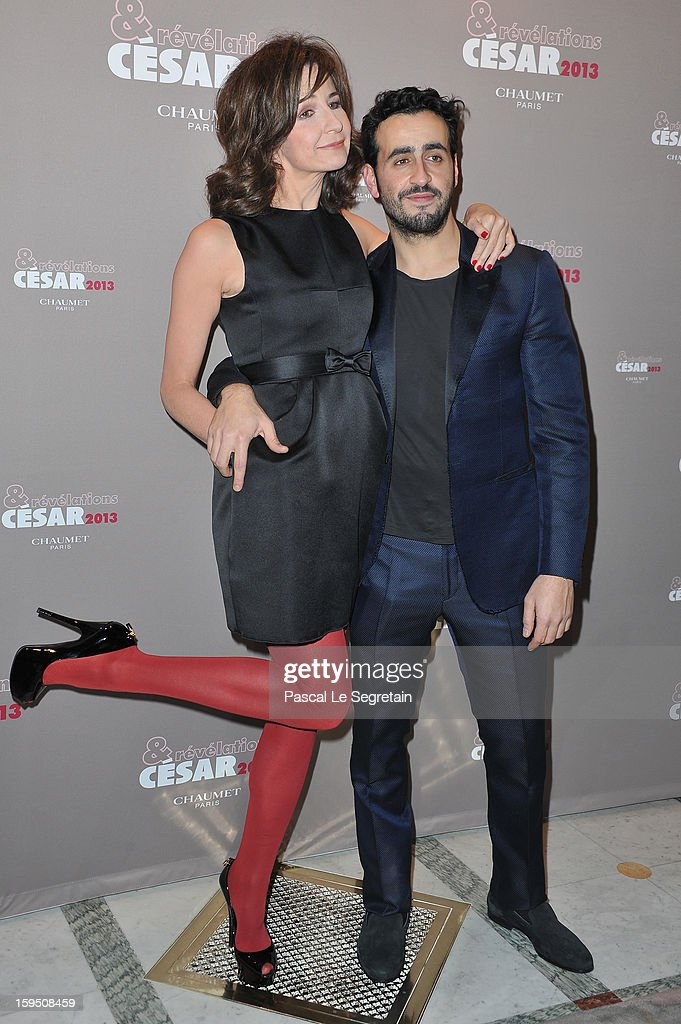 Valerie Lemercier and Jonathan Cohen attend 'Cesar's Revelations 2013' Dinner Arrivals at Le Meurice on January 14 2013 in Paris France