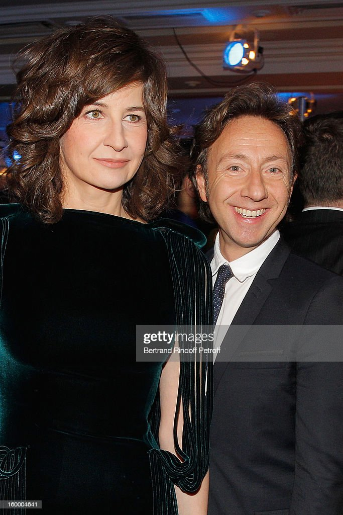 Valerie Lemercier and Stephane Bern attend the the Sidaction Gala Dinner 2013 at Pavillon d'Armenonville on January 24, 2013 in Paris, France.