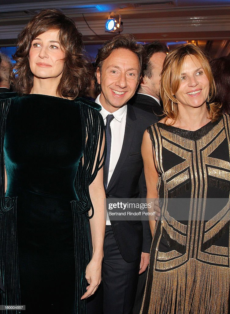 Valerie Lemercier, Stephane Bern and Virginie Couperie-Eiffel attend the the Sidaction Gala Dinner 2013 at Pavillon d'Armenonville on January 24, 2013 in Paris, France.