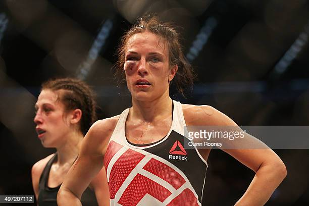 Valerie Letourneau of Canada looks dejected after being defeated by Joanna Jedrzejczyk of Poland in their UFC women's strawweight championship bout...