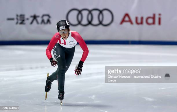 Valerie Maltais of Canada ccrosses the finis line during the ladies 1000m final B of the Audi ISU World Cup Short Track Speed Skating at Bok Hall on...