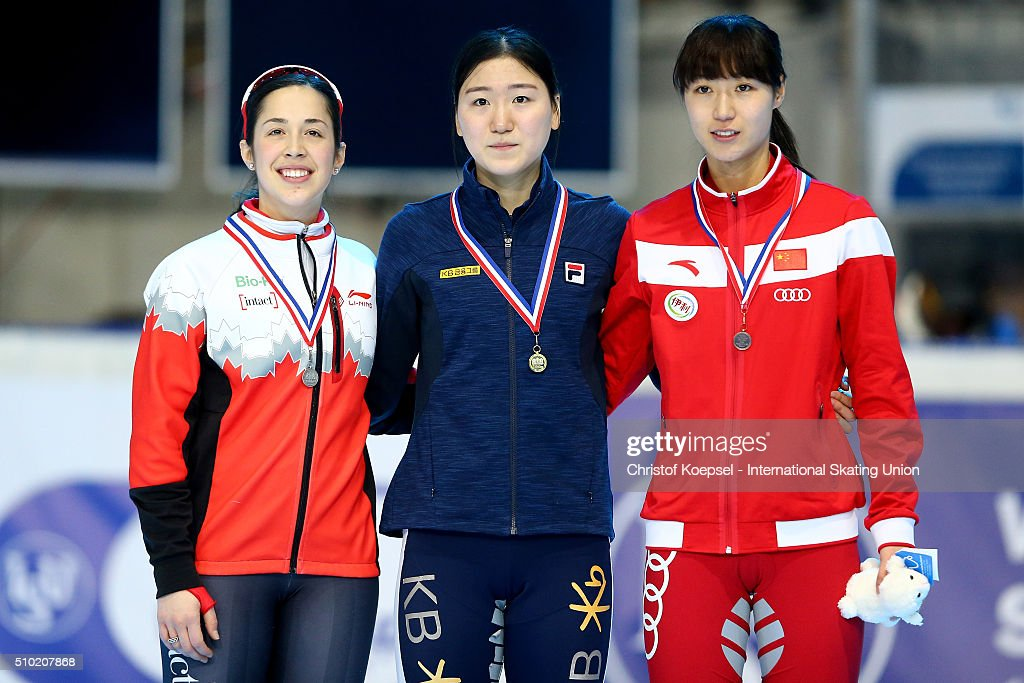 <a gi-track='captionPersonalityLinkClicked' href=/galleries/search?phrase=Valerie+Maltais&family=editorial&specificpeople=6751310 ng-click='$event.stopPropagation()'>Valerie Maltais</a> of Canada poses during the medal ceremony after winning the 2nd place, Do Hee Noh of Korea poses during the medal ceremony after winning the 1st place and Jiaying Tao of China poses during the medal ceremony after winning the 3rd place of the ladies 1000m second race final A during Day 3 of ISU Short Track World Cup at Sportboulevard on February 14, 2016 in Dordrecht, Netherlands.