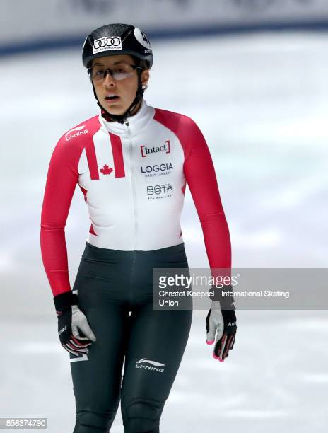 Valerie Maltais of Canada reacts during the ladies 1000m final B of the Audi ISU World Cup Short Track Speed Skating at Bok Hall on October 1 2017 in...