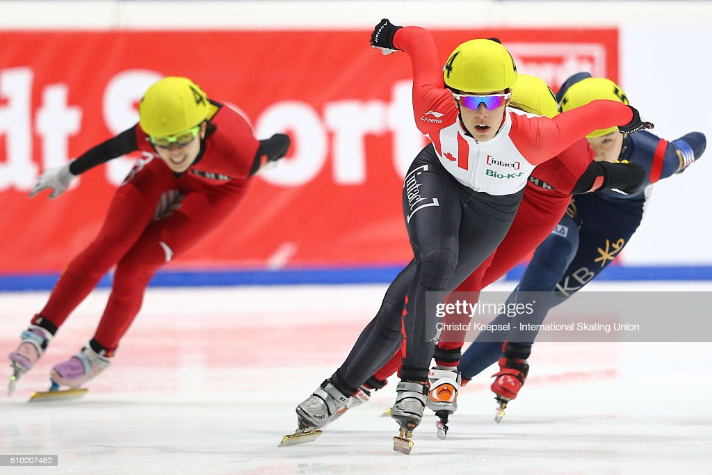 <a gi-track='captionPersonalityLinkClicked' href=/galleries/search?phrase=Valerie+Maltais&family=editorial&specificpeople=6751310 ng-click='$event.stopPropagation()'>Valerie Maltais</a> of Canada skates during the ladies 1000m second race final A during Day 3 of ISU Short Track World Cup at Sportboulevard on February 14, 2016 in Dordrecht, Netherlands.