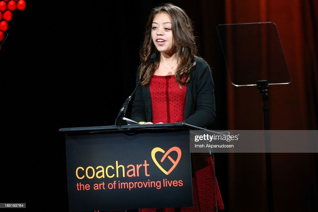 Valerie Mendez speaks onstage during CoachArt's 9th Annual 'Gala Of Champions' at The Beverly Hilton Hotel on October 17, 2013 in Beverly Hills, California.