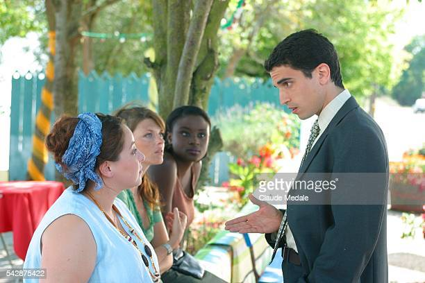 Valerie Moreau Gwendoline Hamon Edea Darcque and Stephane Metzger film a scene on the set of the TV movie 'Julia Ferenzi une Amie en Or' directed by...