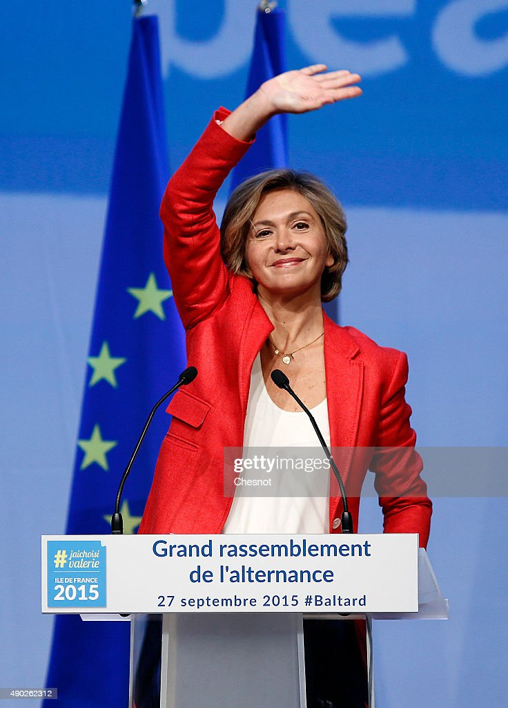 Valerie Pecresse, 'Les Republicains' party's candidate gestures during a campaign meeting on September 27, 2015 in Nogent-sur-Marne, France. Valerie Pecresse is the 'Les Republicains' right-wing party's candidate for the December regional elections in Ile-de-France.