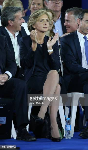 Valerie Pecresse participates at the rally party for French presidential candidate Francois Fillon of Les Republicains at Porte de Versailles on...