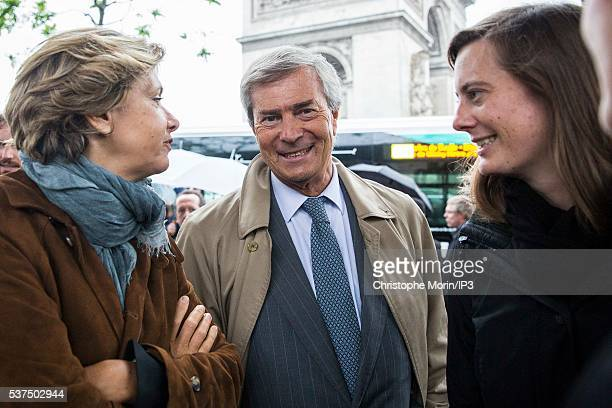 Valerie Pecresse President of Ile de France Region Vincent Bollore CEO of Bollore the transport and international logistics group and his daughter...
