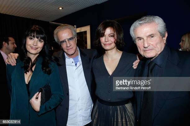 Valerie Perrin Christophe Lambert Marianne Denicourt and Claude Lelouch attend the 'Chacun sa vie' Paris Premiere at Cinema UGC Normandie on March 13...