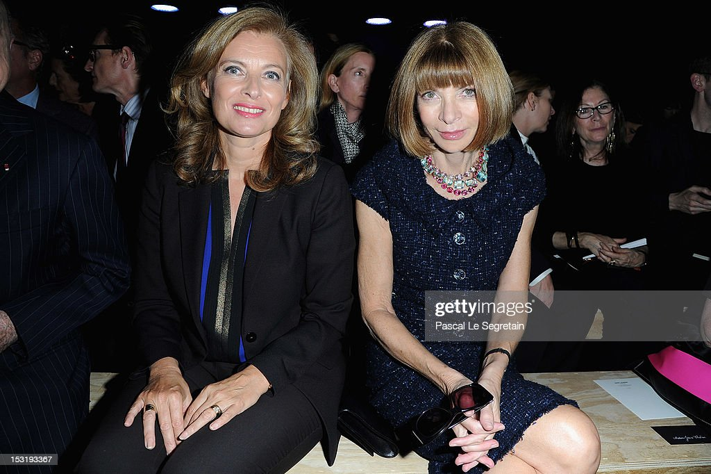 Valerie Trierweiler (L) and <a gi-track='captionPersonalityLinkClicked' href=/galleries/search?phrase=Anna+Wintour&family=editorial&specificpeople=202210 ng-click='$event.stopPropagation()'>Anna Wintour</a> attend the Saint Laurent Spring / Summer 2013 show as part of Paris Fashion Week on October 1, 2012 in Paris, France.