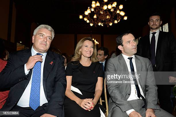Valerie Trierweiler and Benoit Hamon posing at the IledeFrance Regional Councillor Socialist JeanLuc Romero and Christophe Michel's wedding on...