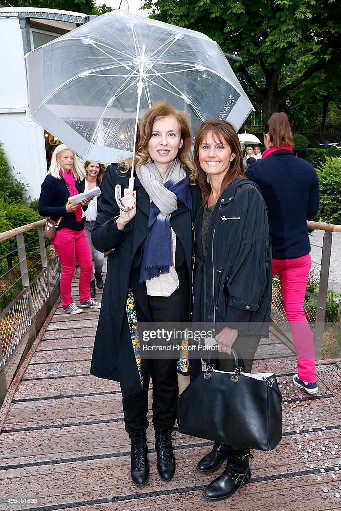 Valerie Trierweiler and journalist at Telematin Isabelle Chalencon attend the Roland Garros French Tennis Open 2014 - Day 11 on June 4, 2014 in Paris, France.