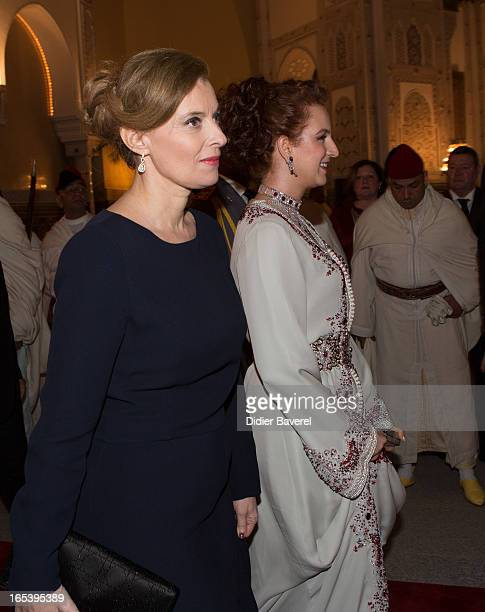 Valerie Trierweiler and Princess Lalla Salma attend the State diner at the King's Palace on April 3 2013 in Casablanca Morocco