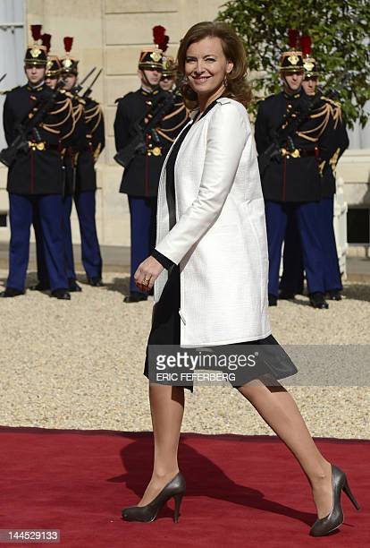 Valerie Trierweiler companion of France's presidentelect Francois Hollande arrives at the Elysee presidential Palace in Paris to attend an official...